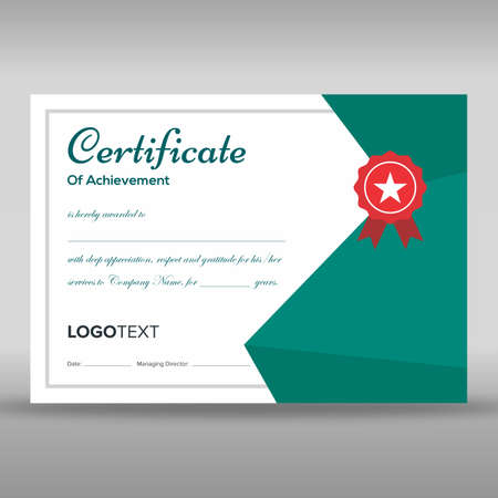 Professional teal and white certificate