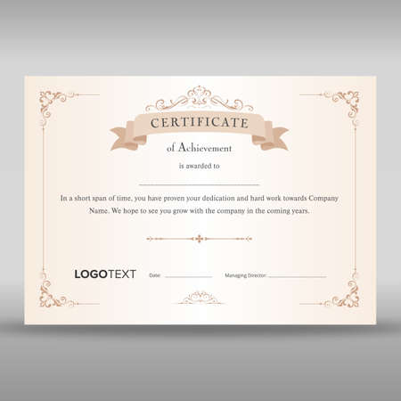 Premium beige colored certificate with elegant designs at borders ready for print Vectores