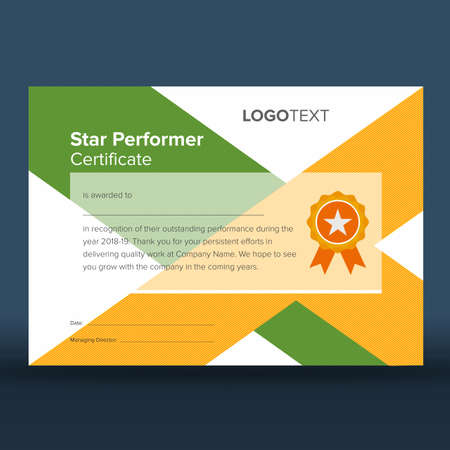 Abstract geometric green and yellow print ready star performer certificate with golden star badge