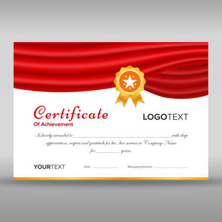 Premium red and golden certificate of achievement ready for print with gold star
