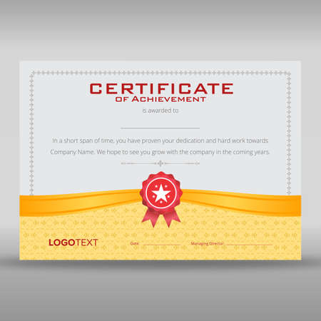 Retro print ready certificate of achievement with gold ribbon and soft grey framed background