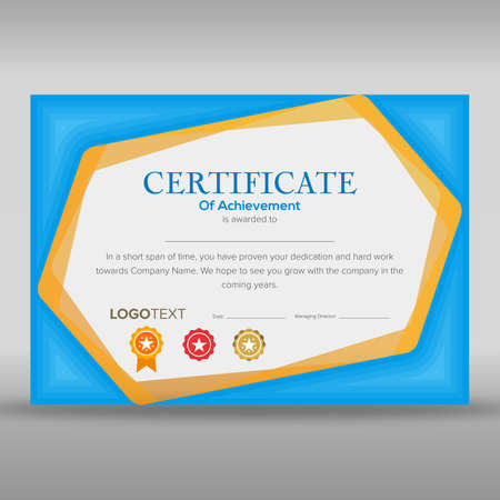 Creative print ready certificate of achievement with blue and yellow abstract border