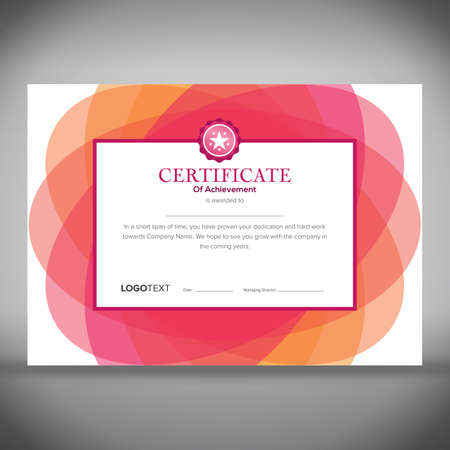 Framed certificate of achievement with abstract floral pink design in the background ready for print. Illustration