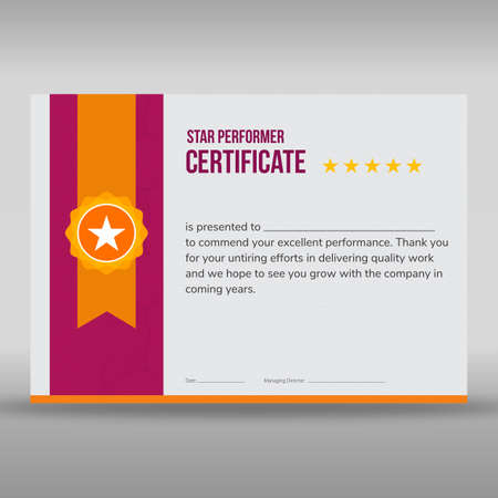 Professional purple and gold star performer print ready certificate with gold star badge. Illustration