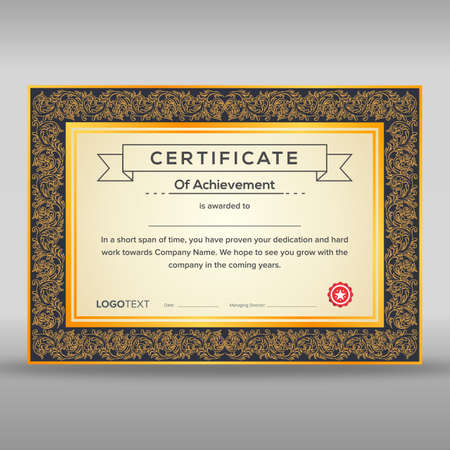 Certificate of achievement with frame and yellow and black elegant pattern in borders ready for print