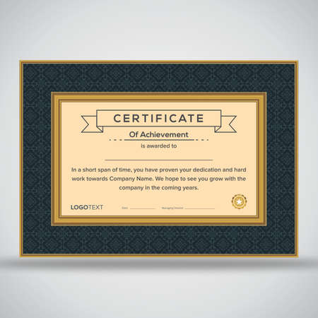 Multipurpose framed grey and beige print ready certificate of achievement with beige star badge