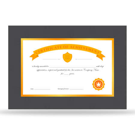 Certificate of achievement print ready design with orange and gold ribbon and dark grey frame. Illustration