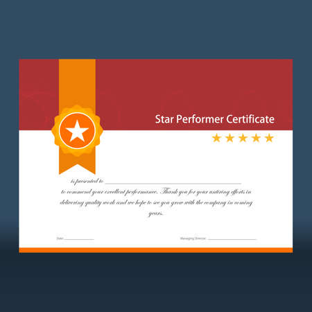 Star performer certificate with red top half and golden ribbon and five stars on right ready for print Illustration