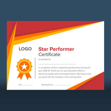 Geometric red and gold star performer certificate Illustration