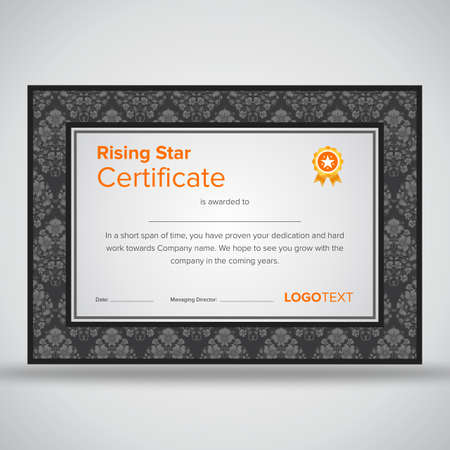 Framed Professional Grey Rising Star Certificate With Elegant ...