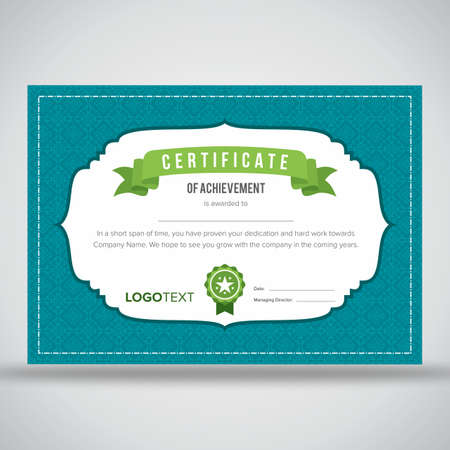 Creative neat blue and white certificate of achievement with green ribbon and print ready design Illustration