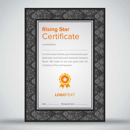 Luxury grey rising star certificate