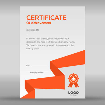 Geometric abstract orange and grey certificate design