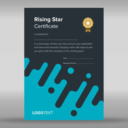 Creative abstract blue and black certificate Illustration