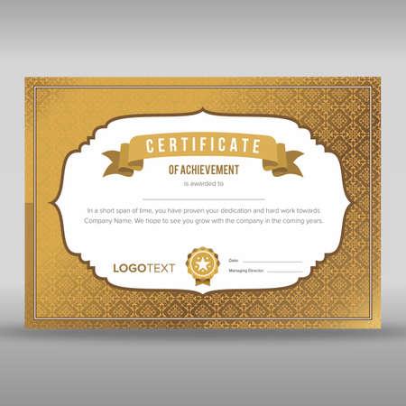 Multipurpose vintage gold certificate Vectores