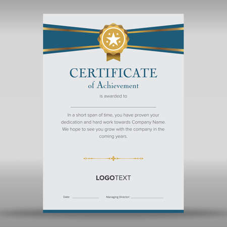 Premium multipurpose blue and grey certificate Ilustracja