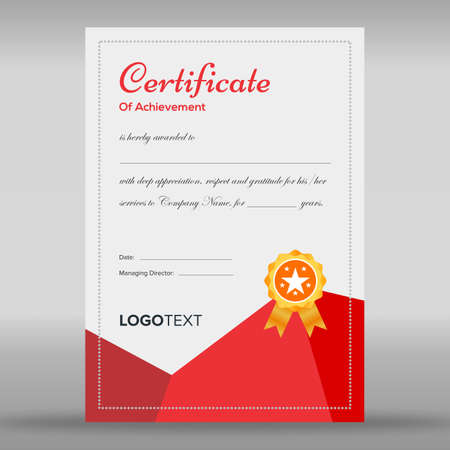 Framed abstract red and grey certificate