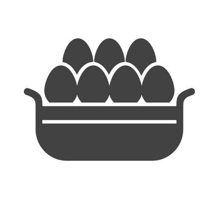 Eggs with basket icon on white background, vector illustration. Çizim