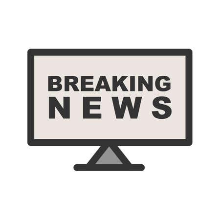 Nieuws, breaking, live pictogram vector afbeelding. Kan ook worden gebruikt voor nieuws en media. Geschikt voor mobiele apps, webapps en gedrukte media. Stock Illustratie