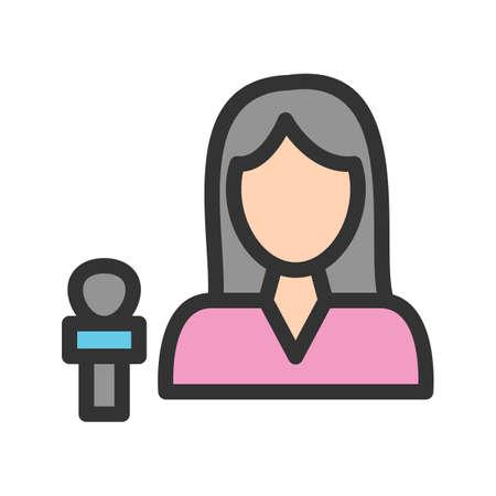 News female anchor icon vector image. Ilustração