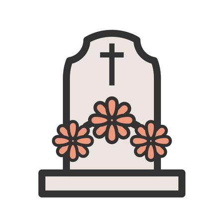 花のベクトル図が付いている墓。