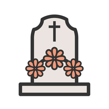 Grave with Flowers Vector illustration. Ilustrace