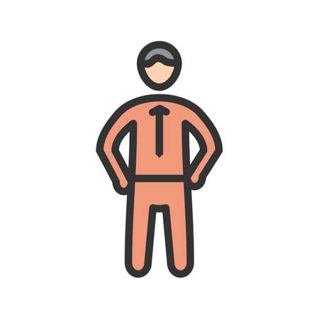 Vertrouwen, zelf, sterk pictogram vector afbeelding. Kan ook worden gebruikt voor soft skills. Geschikt voor mobiele apps, web-apps en gedrukte media. Stock Illustratie
