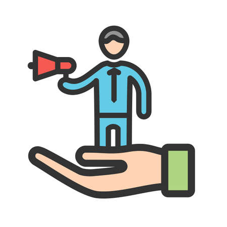 Self, promotion, business icon vector image. Can also be used for soft skills. Suitable for mobile apps, web apps and print media. 向量圖像