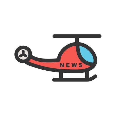 Nieuws, camera, vector afbeelding helikopterpictogram. Kan ook worden gebruikt voor nieuws en media. Geschikt voor mobiele apps, web-apps en gedrukte media. Stock Illustratie