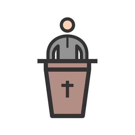 Speaking on Funeral Vector illustration. Ilustrace