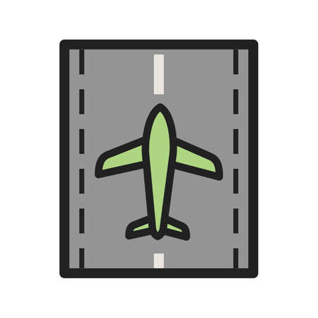 Runway, airport, plane icon vector image. Can also be used for airport. Suitable for mobile apps, web apps and print media. Фото со стока - 91515038