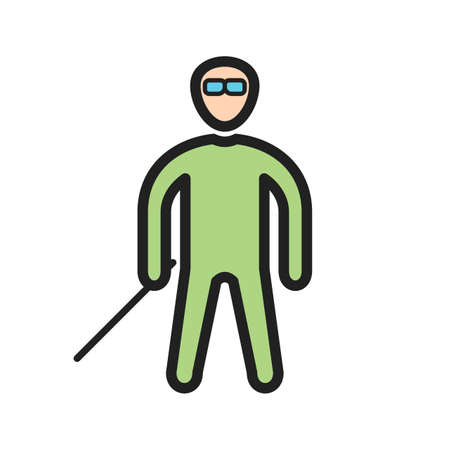 Man with glasses and stick