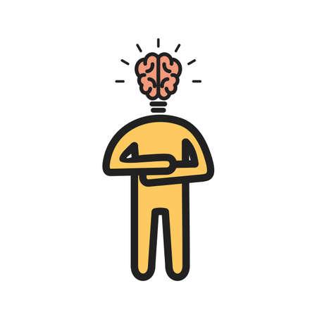 Body with brain as head Illusztráció