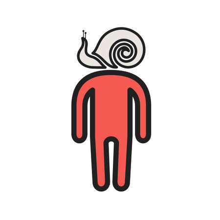 Sluggish man icon with snail in head