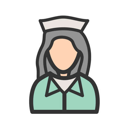 Nurse, girl, uniform icon vector image. Can also be used for Avatars. Suitable for use on web apps, mobile apps and print media.