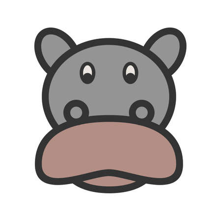 Hippopotamus Face icon cartoon illustration.