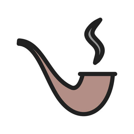 Lit Smoking Pipe  cartoon illustration.