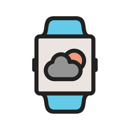 Weather, app, smart icon vector image. Can also be used for Smart Watch. Suitable for mobile apps, web apps and print media.  イラスト・ベクター素材