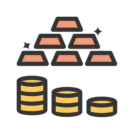 Gold bars and coins icons