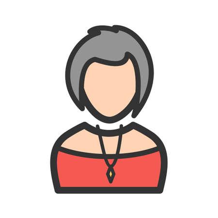 Lady Wearing Necklace Illustration