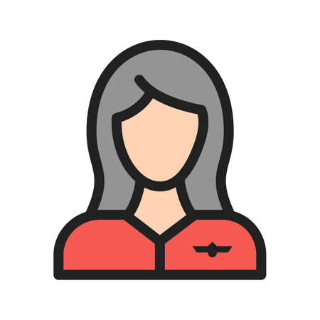 Flight, attendant, crew icon vector image. Can also be used for airport. Suitable for mobile apps, web apps and print media.
