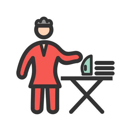 House, ironing, clothes icon vector image. Can also be used for Cleaning Services. Suitable for web apps, mobile apps and print media.