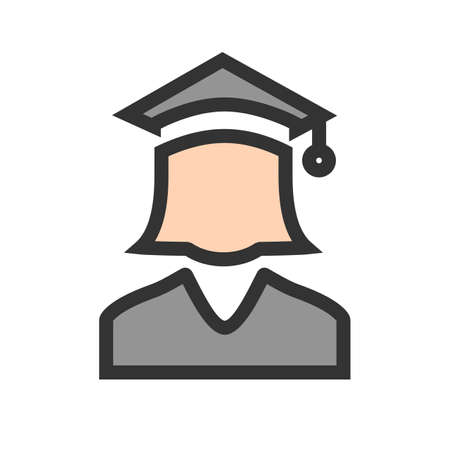 Student, college, female icon  image. Can also be used for education, academics and science. Suitable for use on web apps, mobile apps and print media. Illustration