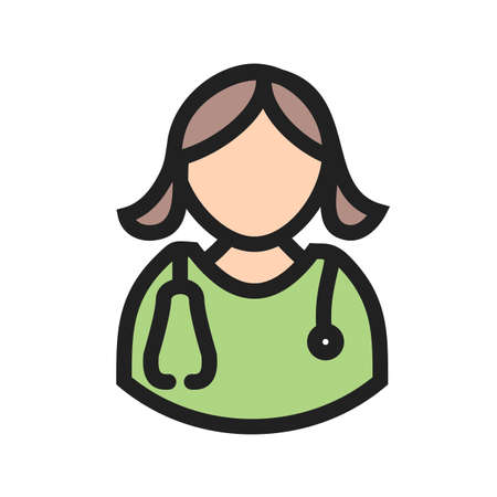Doctor, female, woman icon  image. Can also be used for healthcare and medical. Suitable for mobile apps, web apps and print media.