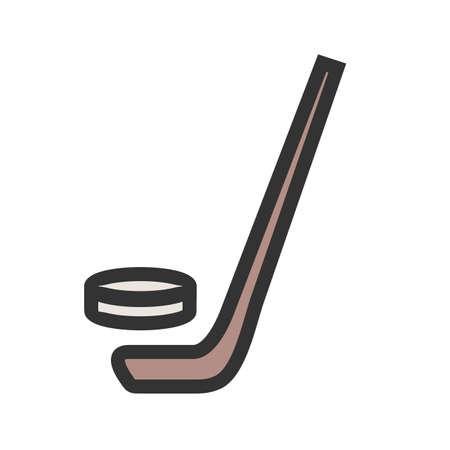 Hockey, bal, stick sporten in cartoon afbeelding.