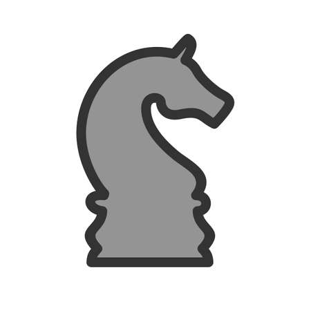 Chess Piece,  horse, in cartoon illustration.