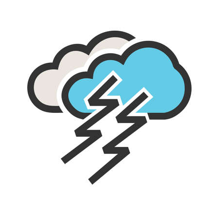 Lightning, clouds, thunder icon  image. Can also be used for weather and metcons. Suitable for use on web apps, mobile apps and print media.