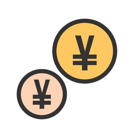 Yen coins icon image vector illustration