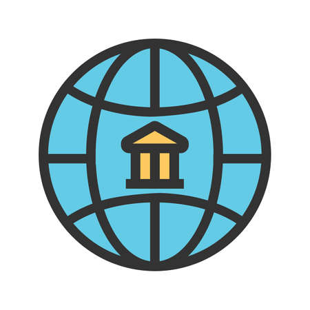 Global, business, bank icon image. Can also be used for business, finance, technology, economics and accounting. Suitable for web apps, mobile apps and print media.
