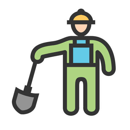 Construction worker, labor, mason icon  image. Can also be used for construction, interiors and building. Suitable for use on web apps, mobile apps and print media. 일러스트